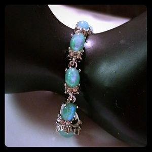 Green Fire Created Opal Bracelet
